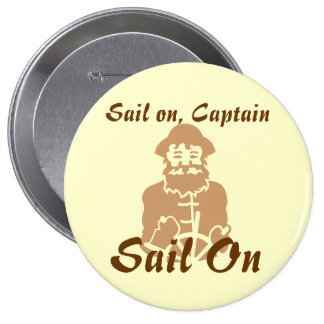 Sail on Yellow and Brown 4 Inch Round Button