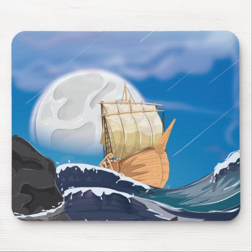Sail Ship in Ocean Storm Mouse Pad