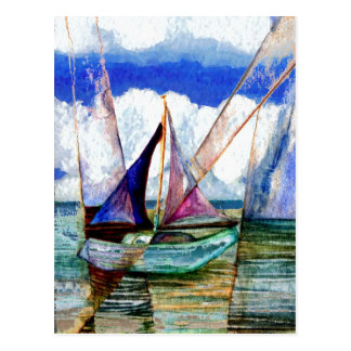 Sailboat Abstract Blue Sky Fluffy Clouds Postcard