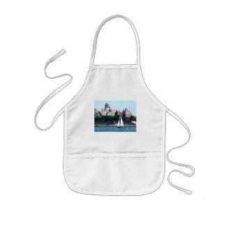 Sailboat Against Manhattan Skyline Kids Apron