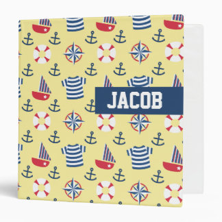 Sailboat Anchor Nautical Pattern, Name Binder