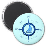 Sailboat And Compass Rose 2 Inch Round Magnet