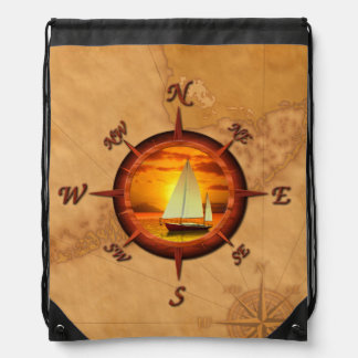 Sailboat And Compass Rose Cinch Bag