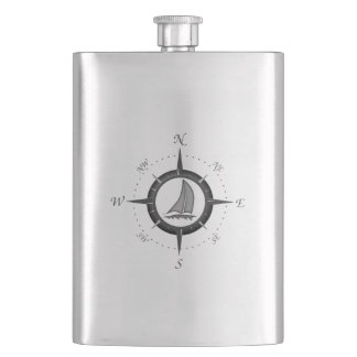 Sailboat And Compass Rose Hip Flask
