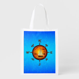 Sailboat And Compass Rose Market Tote