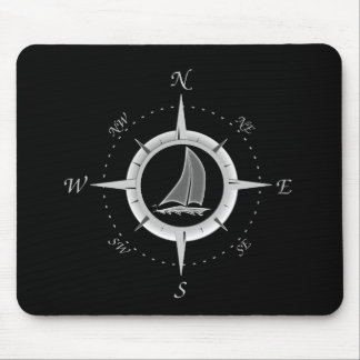 Sailboat And Compass Rose Mouse Pad