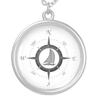 Sailboat And Compass Rose Round Pendant Necklace