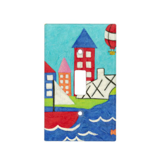 Sailboat and Hot Air Balloon with Cityscape Light Switch Cover