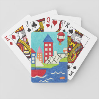 Sailboat and Hot Air Balloon with Cityscape Poker Deck