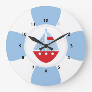 Sailboat and Life Ring Large Clock