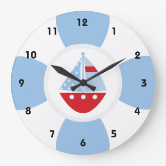 Sailboat and Life Ring Wallclock