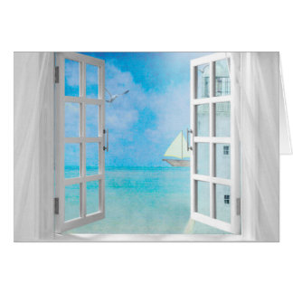 sailboat and lighthouse in window for Name Day Card