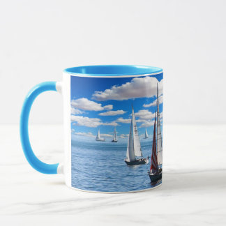 Sailboat and Ocean View Blue Coffee Mug