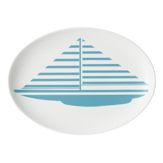 Sailboat Aqua Porcelain Serving Platter