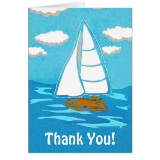 Sailboat Art Thank You Greeting Card
