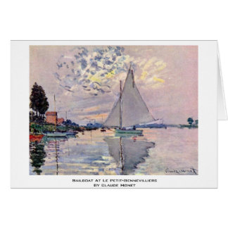 Sailboat At Le Petit-Gennevilliers By Claude Monet Card