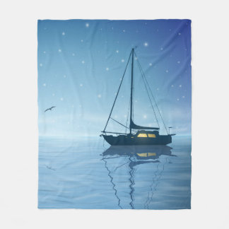 Sailboat at Night Fleece Blanket