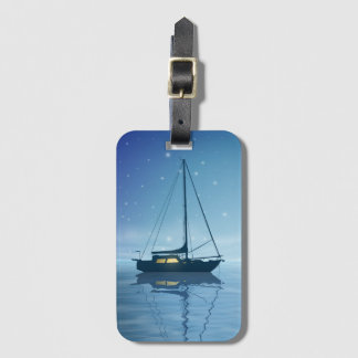 Sailboat at Night Luggage Tag