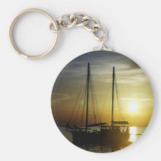 sailboat at sunset keychain