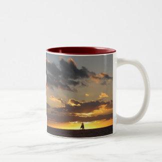 Sailboat at sunset mug