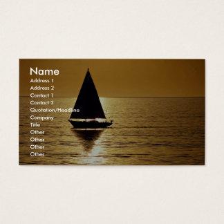 Sailboat at sunset, sloop business card