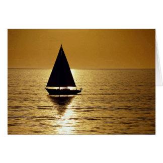 Sailboat at sunset, sloop card