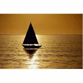 Sailboat at sunset, sloop cut out