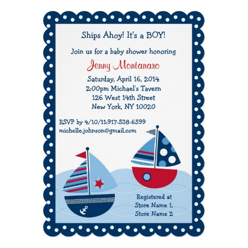 Sailboat Baby Shower Invitations