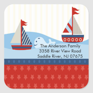 Sailboat Baby Shower Square Sticker