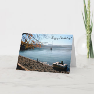 Sailboat Beach Happy Birthday Card