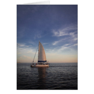 Sailboat Before Sunset - Greeting Card (Blank)