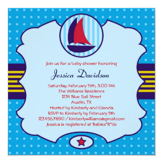 Sailboat Boy Baby Shower Invitation