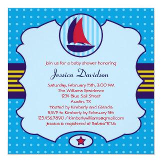 "Sailboat Boy Baby Shower Invitation 5.25"" Square Invitation Card"