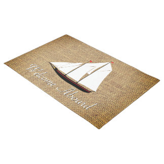 Sailboat Burlap Personalize Doormat