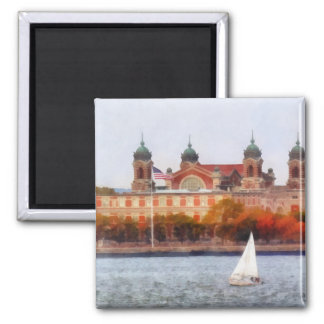 Sailboat by Ellis Island Square Magnet