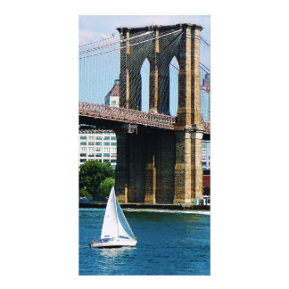 Sailboat by the Brooklyn Bridge Photo Cards