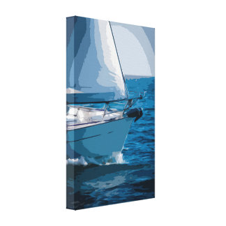 Sailboat Canvas in Simple Design with Clear Colors