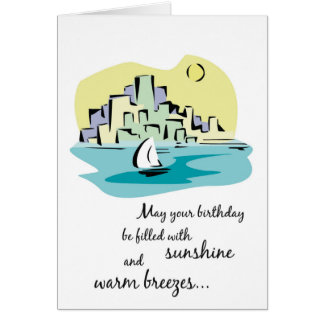 Sailboat City Birthday Card