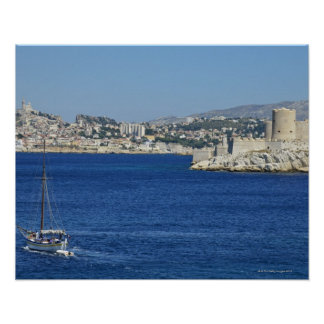 Sailboat cruising by Chateau d'If in Marseille's Posters
