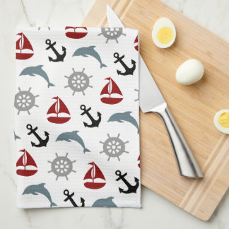 Sailboat Dolphin Anchor Pattern Navy and Red Kitchen Towel