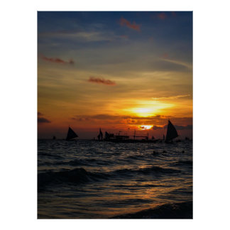 Sailboat Flotilla in Silhouette 2 Poster