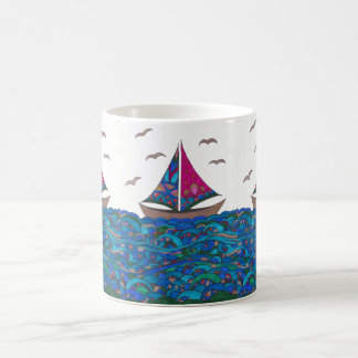 Sailboat (Gold) on Sea Mug