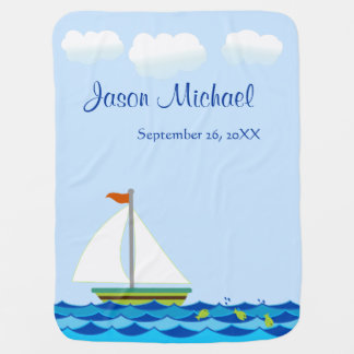 Sailboat Green And Brown Personalized Baby Blanket