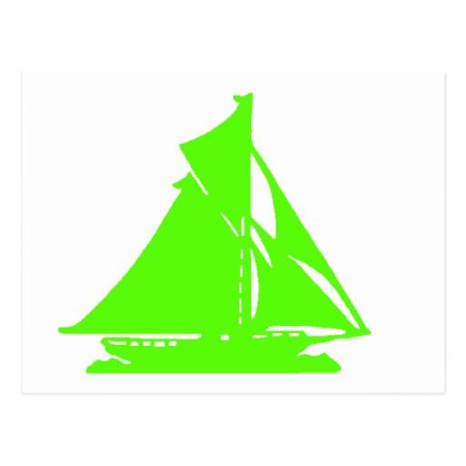 Sailboat Green lg-transp Vero Beach The MUSEUM Zaz Post Cards