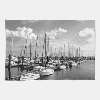 Sailboat Harbor in Black and White Kitchen Towels
