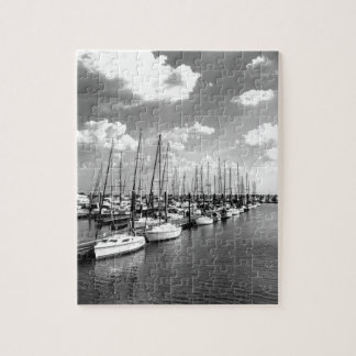 Sailboat Harbor in Black and White Puzzle
