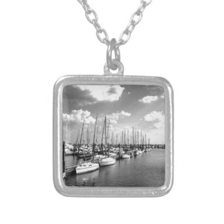 Sailboat Harbor in Black and White Silver Plated Necklace