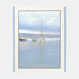 Sailboat Harbor Ocean Sailing Fleece Blanket
