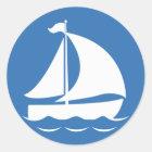Sailboat in a Blue Circle Classic Round Sticker