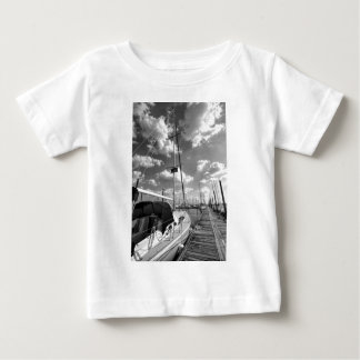 Sailboat in Dock Black and White Baby T-Shirt